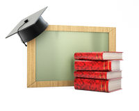 Blackboard with graduation cap and stack of books. Isolated on white background. 3d render Stock Image