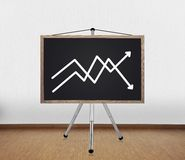 Blackboard with graph Stock Image