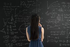 Blackboard with graphs and formulas Stock Image