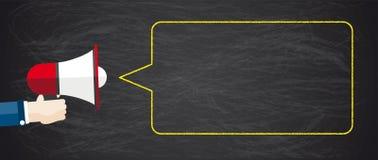 Blackboard Hand Bullhorn Blackboard Speech Bubble Royalty Free Stock Image