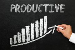 Blackboard with handwritten productive text. Progress concept. stock image