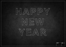 Blackboard with happy new year. Drawing with chalk Royalty Free Stock Image