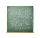 Blackboard with hard math isolated on white. Old chalkboard with hard math isolated on white background Royalty Free Stock Photography