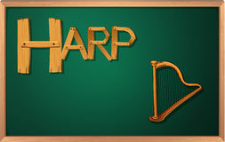 A blackboard with a harp Royalty Free Stock Photography