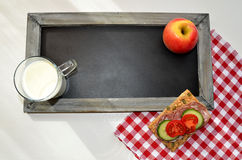 Blackboard healthy breakfast Stock Photos