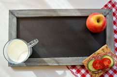 Blackboard healthy breakfast Royalty Free Stock Images