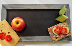 Blackboard healthy breakfast Royalty Free Stock Photo