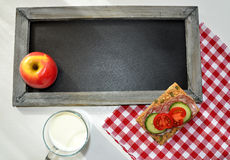 Blackboard healthy breakfast Royalty Free Stock Photography