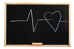Blackboard and heart Stock Photo