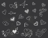 Blackboard with hearts vector.  Stock Photography