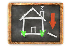 Blackboard Housing Market Decline Royalty Free Stock Photos