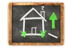 Blackboard Housing Market Rise Stock Image