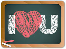 Blackboard with I Love Heart You Message Royalty Free Stock Images