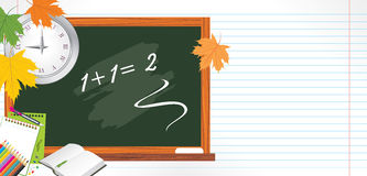 Blackboard i szkoły akcesoria. Plecy szkoła Zdjęcie Stock