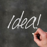 Blackboard Idea. A Colourful 3d Rendered Concept Illustration showing Idea written on a Blackboard Stock Image