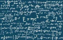 Blackboard inscribed with scientific formulas and calculations in physics and mathematics. Can illustrate scientific. Topics to quantum mechanics and any Stock Images
