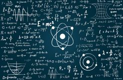 Blackboard inscribed with scientific formulas and calculations in physics and mathematics. Can illustrate scientific. Topics to quantum mechanics and any vector illustration