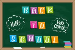 Blackboard with Inscription `Back to school`. Back to school. Blackboard with Inscription on color sticky paper and chalk drawn inscriptions in speech bubbles Royalty Free Illustration