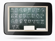 Blackboard inside computer tablet with sketchy alphabet. Blackboard inside computer tablet with sketchy chalk capital alphabet Royalty Free Stock Photos
