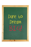 Blackboard with Inspiration Message. On White Background Stock Photos
