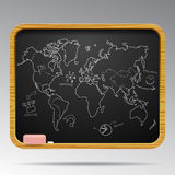 Blackboard isolated with hand drawn world map and business icons Royalty Free Stock Image