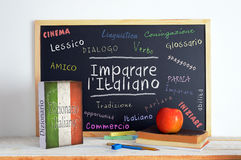 Blackboard in a Italian Language classroom with the message LEARN ITALIAN Stock Images