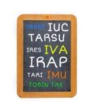 Blackboard with Italian tax Stock Images