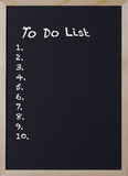 Blackboard with an item to do list Stock Image