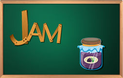 A blackboard with a jam Stock Photo