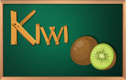 A blackboard with kiwi Royalty Free Stock Photography
