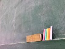 Blackboard kreda i gumka Obrazy Stock