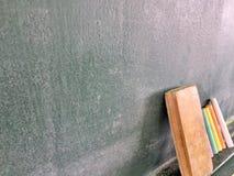 Blackboard kreda i gumka Zdjęcie Stock