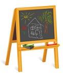 blackboard kredy rysunków sztalugi drewno Obrazy Stock