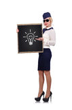 Blackboard with lamp Royalty Free Stock Images