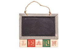 Blackboard with learn text Stock Image