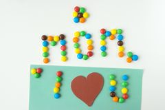 Blackboard with lettering i love you mom heart mother s day stock photography