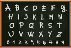 Blackboard with Letters and Numbers Stock Photo