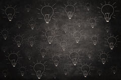Blackboard with light bulbs picture Royalty Free Stock Photography