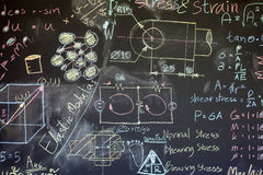 Blackboard with a lot of data written on Royalty Free Stock Image