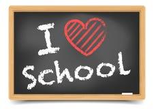Blackboard love school. Detailed illustration of a blackboard with a I love school text Stock Photography