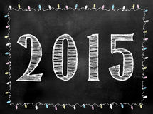 Blackboard lub Chalkboard 2015 znak z światłami graniczy Zdjęcie Royalty Free