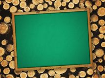 Blackboard at lumber background Royalty Free Stock Photo