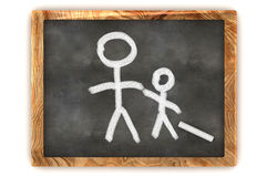 Blackboard Man and his Child. A Colourful 3d Rendered Concept Illustration showing a Man and his Child on a Blackboard Stock Images
