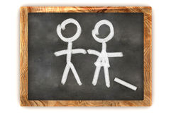Blackboard Man and a Lady Royalty Free Stock Photos