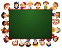 Blackboard with many kids around the border Stock Photography