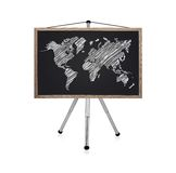 Blackboard with map Stock Image