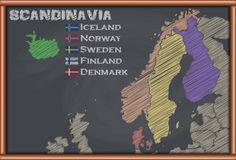 Blackboard with the Map of Scandinavia Stock Photos