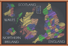 Blackboard with the Map of United Kingdom Stock Images