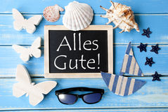 Blackboard With Maritime Decoration, Alles Gute Means Best Wishes Stock Photo