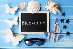 Blackboard With Maritime Decoration, Bienvenue Means Welcome stock photos